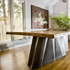 Live Edge Wood Slab Dining  Table w/ Faceted Metal Base