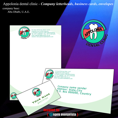 Corporate items business cards letterheads envelopes by angelo appolonia dental clinic corporate items business card letterhead envelope design reheart Image collections
