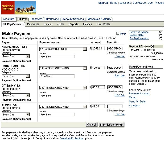 Wells Fargo Bill Pay by David Sciacero at Coroflot com