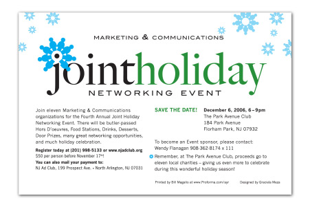 Joint Holiday Networking Event Logotype and Invitation by Graciela