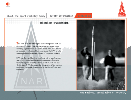 National Association of Rocketry - flash website by Tammy