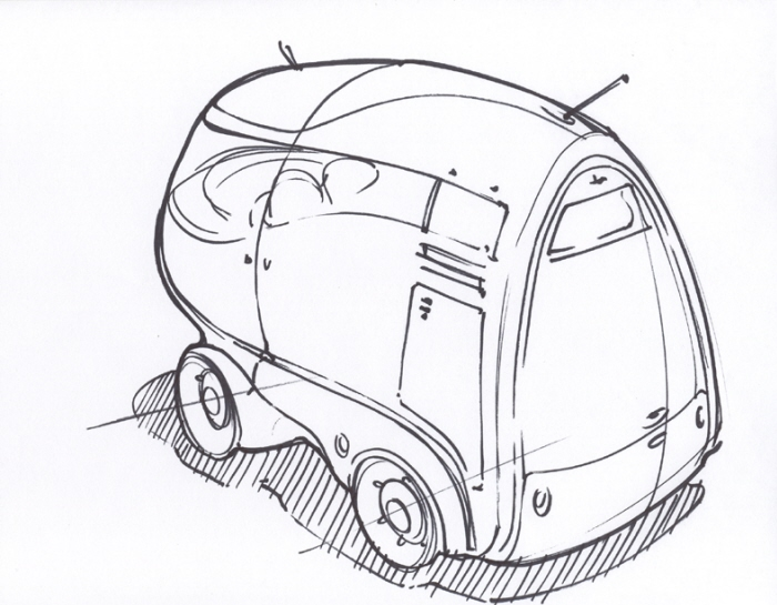 concept sketches linework single concept per page by jeff smith VW Kombi Bus bus quick sharpie sketch