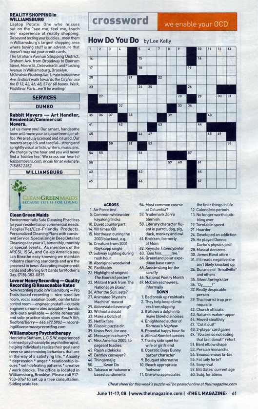 CROSSWORD PUZZLE AUTHORING /// L MAGAZINE by *** nyc factotum *** at ...