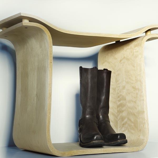 Entrance Way Stool   Wiggle Board, Veneer, Vacuum Formed
