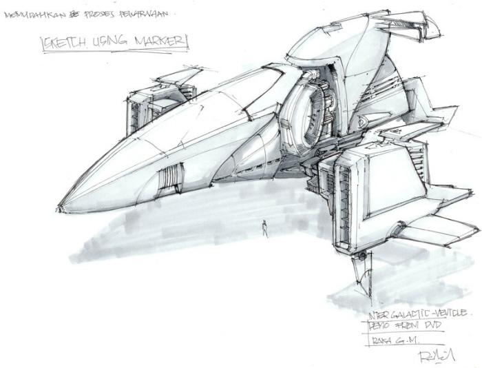 amazoncom blast spaceship sketches and renderings - 700×534