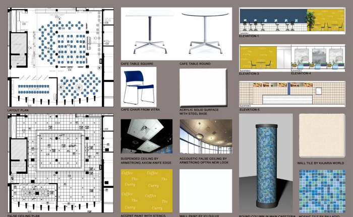 material board presentation by interior design consultant at
