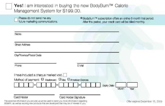 Direct Marketing Bodyburn Calorie Management System By Amanda
