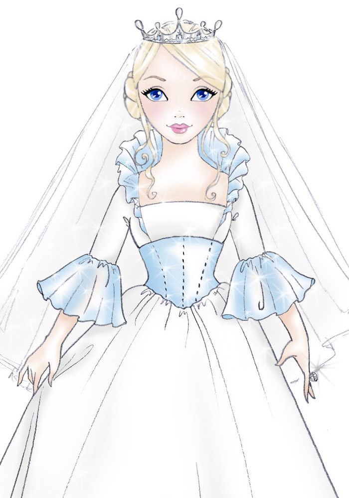 Simple princess bride a concept sketch done for a fashion doll line with a fairytale vibe and low cost soft goods her face makes me happy