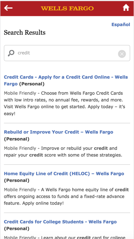 Wells Fargo Retail Banking Digital - Mobile Enterprise Search Design