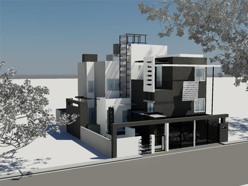 Front Elevation Duplex House : Building construction in bangalore by ashwin architects at