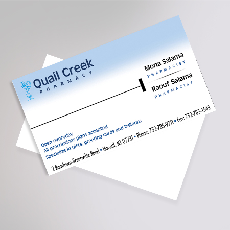 Company identity and business cards by luizette armise at coroflot quail creek pharmacy business card software used illustrator and photoshop reheart Image collections