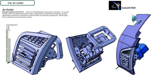 air vent automotive interior plastic parts Catia Alias by