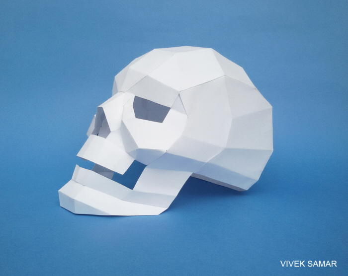 DIY 3d Paper Skull Model For Tabletopdecoration Papercrafts Papertoy Papermodel Humanskull Paperskull Halloween Replica