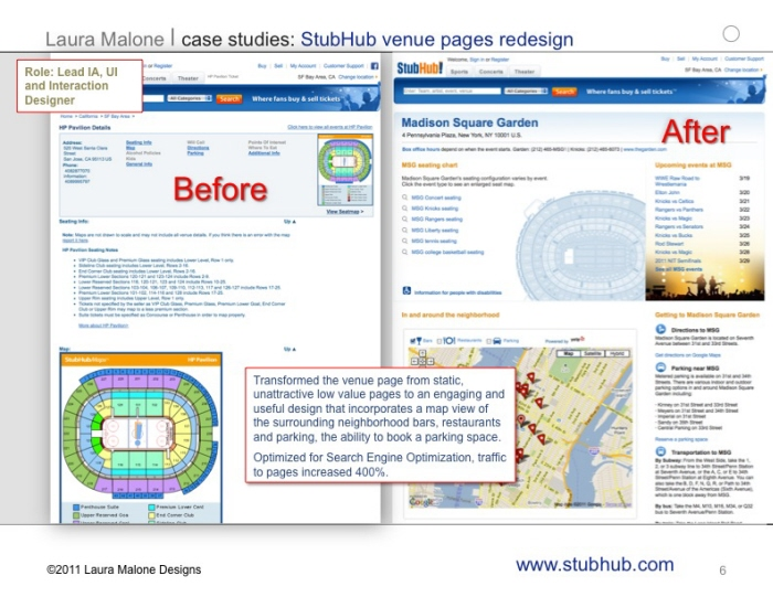 StubHub Venue Pages Redesign   The Stubhub.com Venue Page Was Redesigned To  Optimize The Page For Search Engines And Provide More Useful Content For  Users.