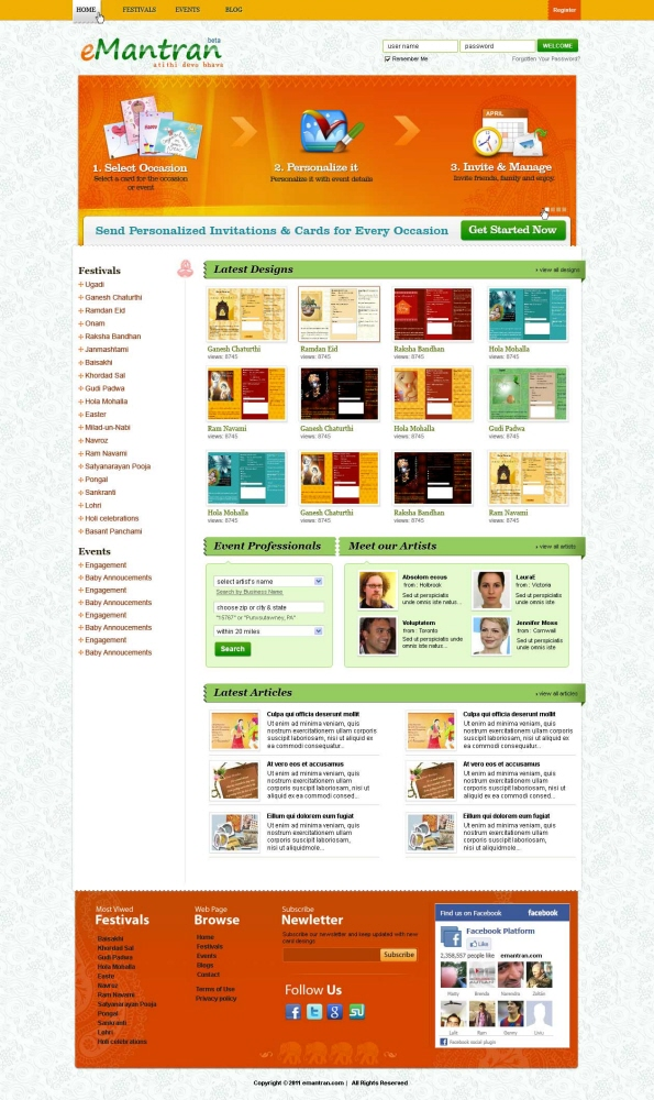 greeting card website by ui rocks at coroflot com