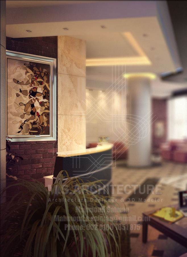 small hotel entrance lobby design by mahmoud salman at