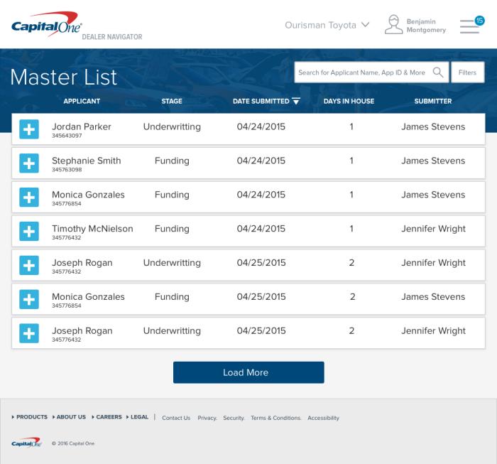 CapitalOne Dealer Navigator by Jeremiah Harper at Coroflot.com