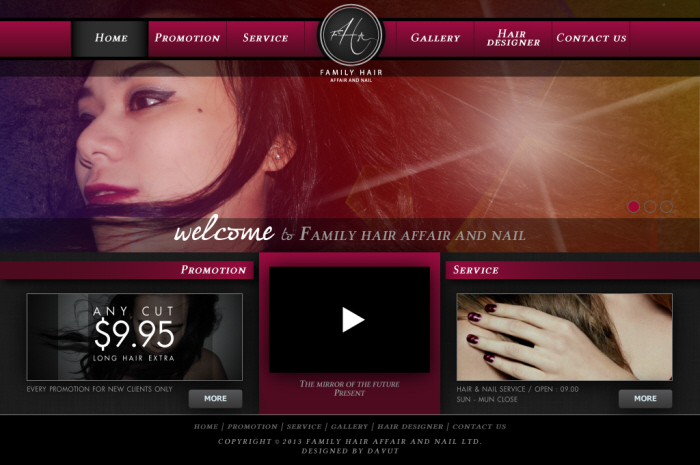 Website Family Hair Affair and Nail by Sarawut Munkong at Coroflot com