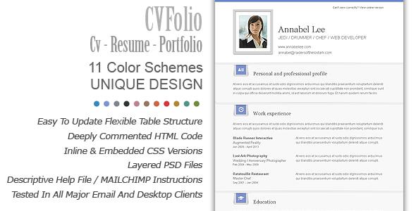 Cv Folio Resume Portfolio Email Newsletter By Bedros