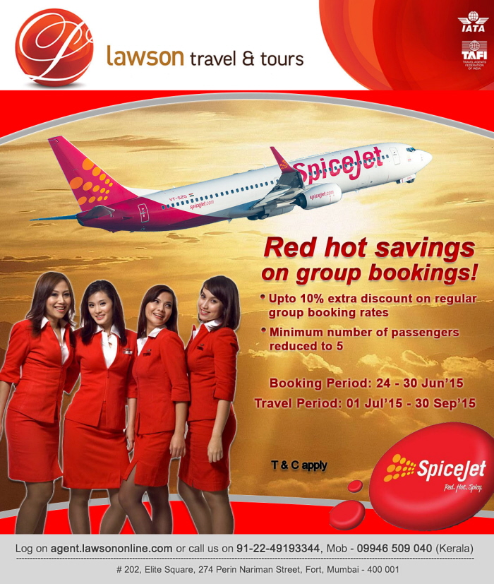 SpiceJet - Ret Hot Savings on Group bookings by Sharookh Joshi at