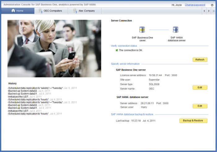 Administration Console for SAP Business One, analytics powered by