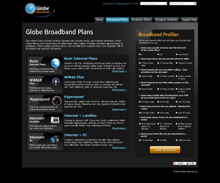 Globe Broadband 2009 Revamp by Carlo Roderos at Coroflot com