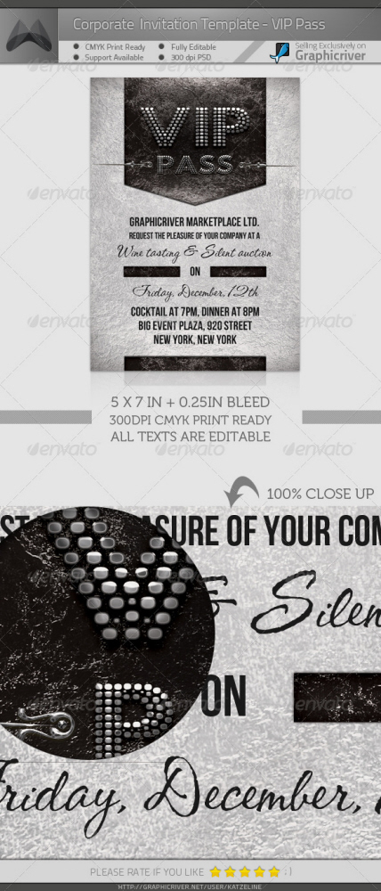 Corporate Event Invitation Template by Katzeline KL at Coroflot.com