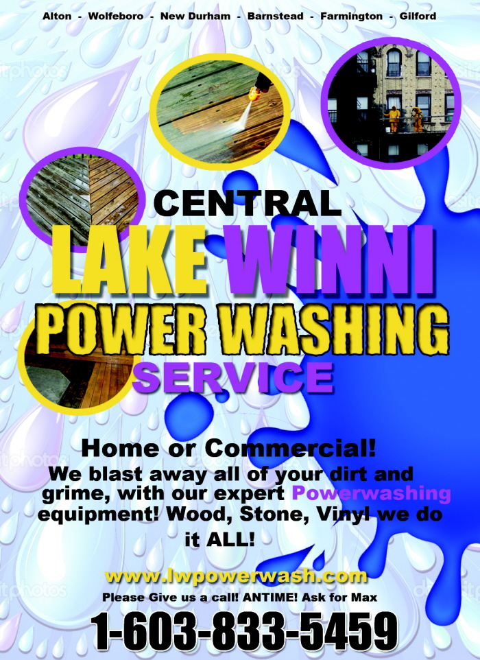 lake winnipesaukee power washing service  poster by steffan mcneil at coroflot com