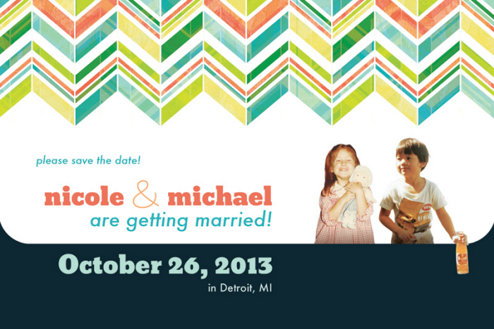 wedding save the date oversized postcard  by nicole exel