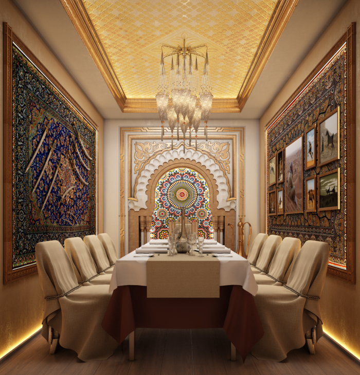 Marvelous Small Banquet Room Arabic Style Restaurant Interior By Home Interior And Landscaping Elinuenasavecom