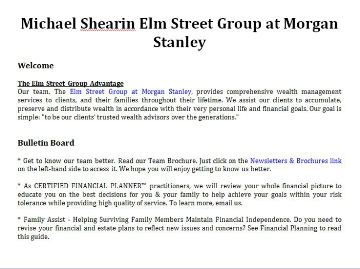 Michael Shearin Elm Street Group at Morgan Stanley by Eric Lee at