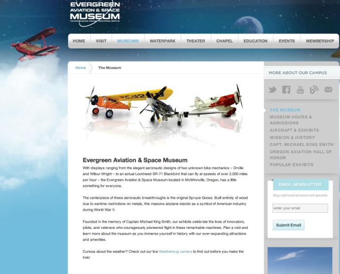 Evergreen Aviation & Space Museum by Lisa Morgan at Coroflot com