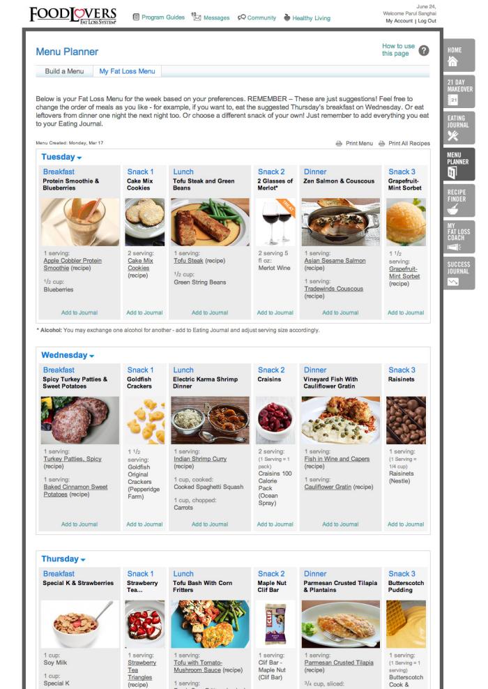 Food Lovers Online Menu Planner By Parul Sanghai At