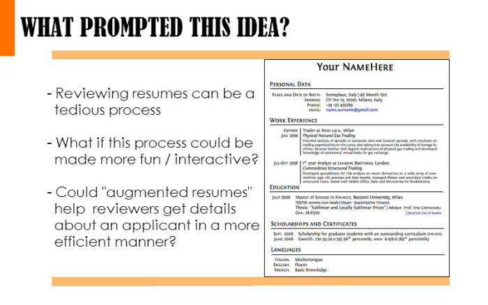The Augmented Reality Resume by Rohit Bhat at Coroflot.com