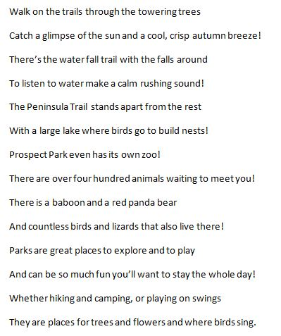 Park Poem Excerpt By Andrea Meyer At Coroflotcom