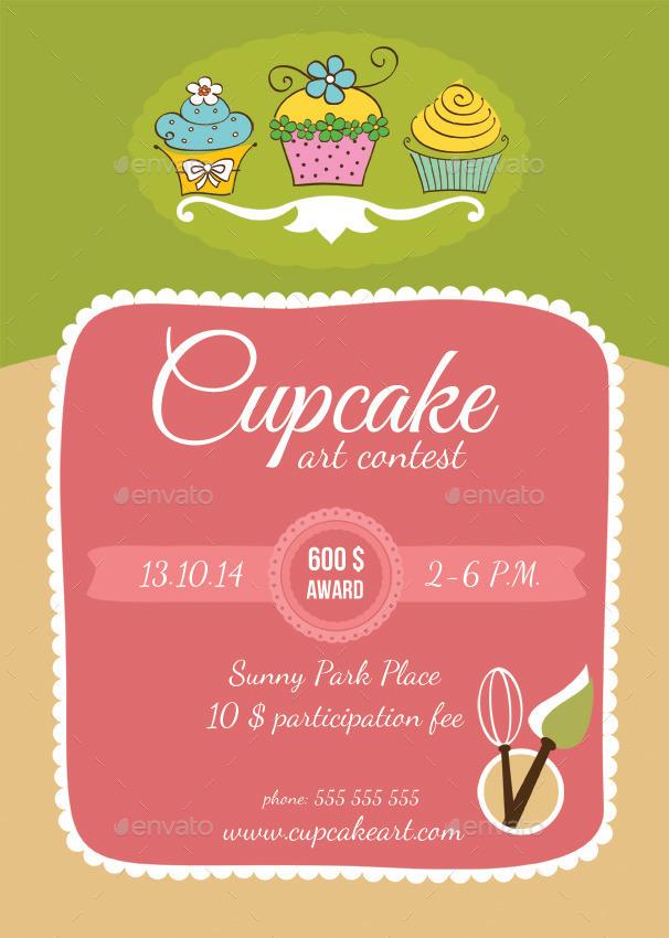 Cupcake Art Contest and Bakery Flyers by Petya Hadjieva at