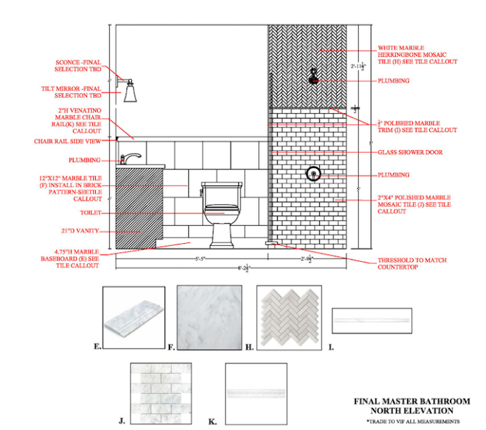 AutoCAD: Master Bath - Layout - Elevations - Callouts - Selections
