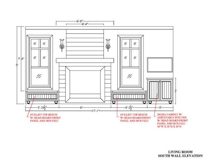AutoCAD/SketchUp: Living Room - Space Planning - Elevations
