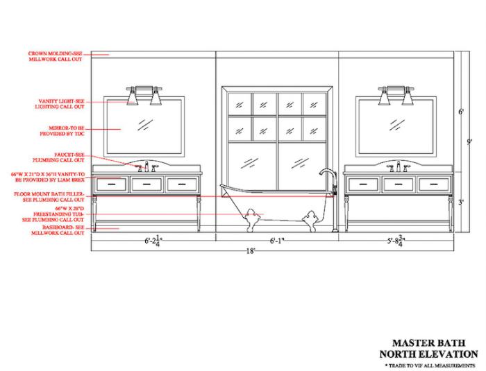 AutoCAD: Master Bath - Floor Plan - Elevations - Callouts