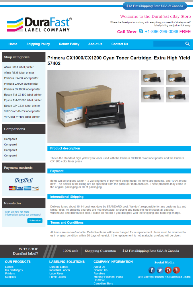 eBay Store Design for Ink Cartridge Store in Canada - DuraFast Label