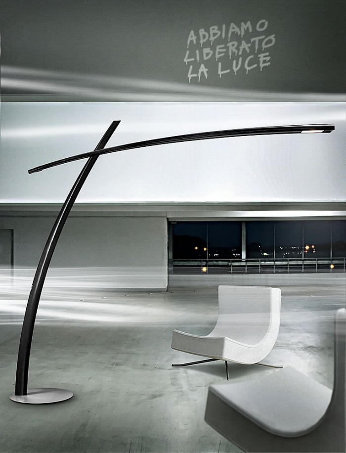 itre lighting final products advertising for itre an imposing carbon fiber floor lamp designed by two swift strokes strong personality one of the most important katana daniele pesaresi at coroflotcom