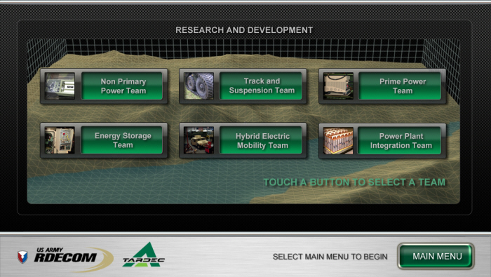 BRTRC - TARDEC Kiosk Touch Screen Application by Dale