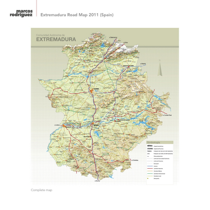 Map Of Spain Extremadura.Extremadura Road Map 2011 Spain By Marcos Rodriguez At Coroflot Com