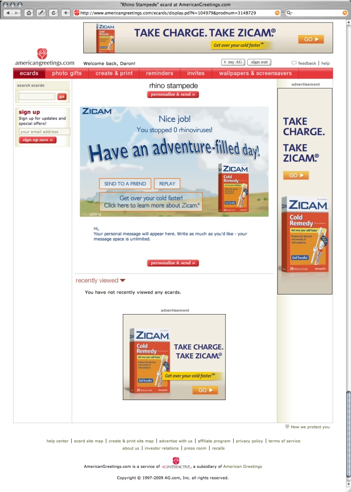 American greetings advertising by daron mitchell at coroflot zicam interactive ecard and banner ads m4hsunfo
