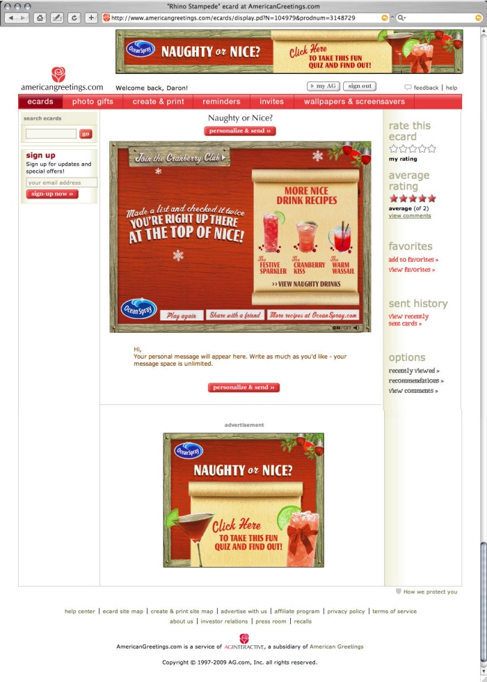 American greetings advertising by daron mitchell at coroflot ocean spray custom ecard and banner ads ocean spray holiday campaign naughty or nice quiz with featured nice drink recipes and naughty drink recipes m4hsunfo