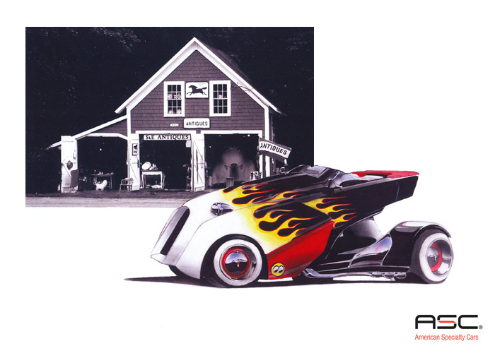 Marker Sketches And Renderings Ilrative Including One With A Retro Hot Rod Touch As American Specialty Cars Is Known For Their