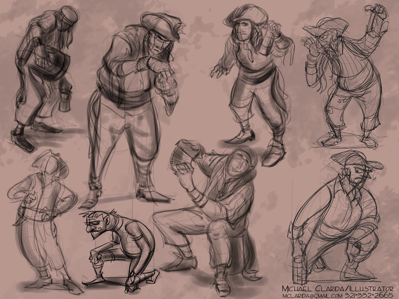 Gesture drawings and figure observation by Mike Clarida at