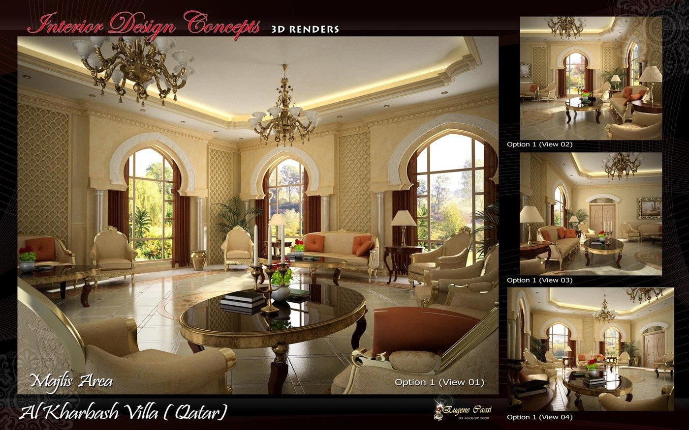 3D LIVING AREA RENDERS by eugene caasi at Coroflot com