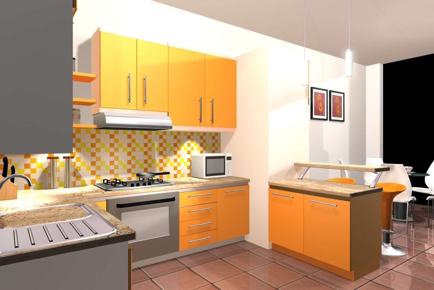 Yellowk 02 A Small Kitchen Put Yellow As Main Color So Tasty
