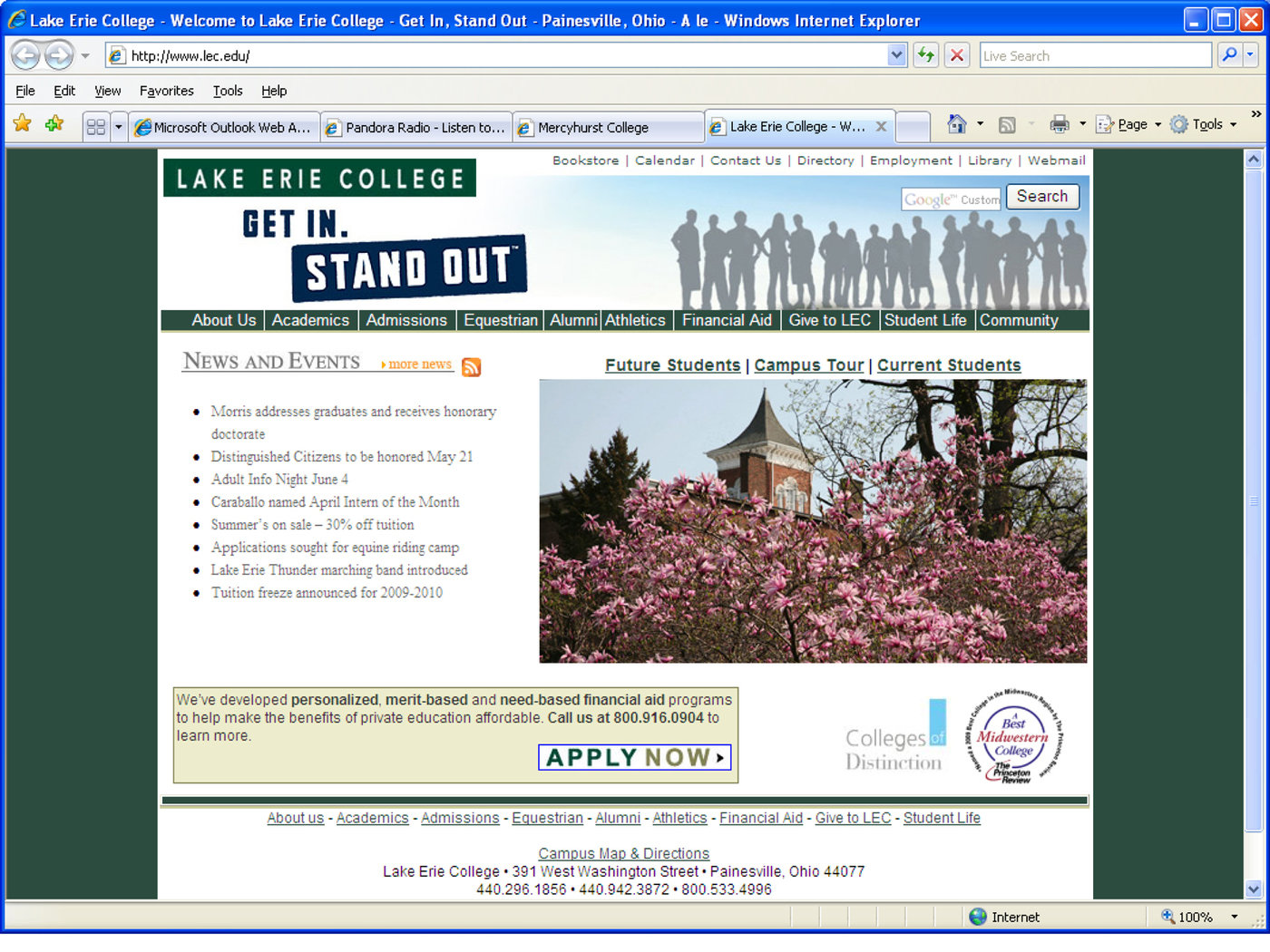 Lake Erie College Campus Map.Lake Erie College Website Redesign By Emilie Nerl At Coroflot Com